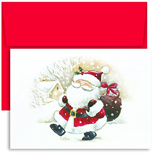 Masterpiece Studios Holiday Collection 18-Count Boxed Christmas Cards with Envelopes, 7.8' x 5.6', Happy Santa