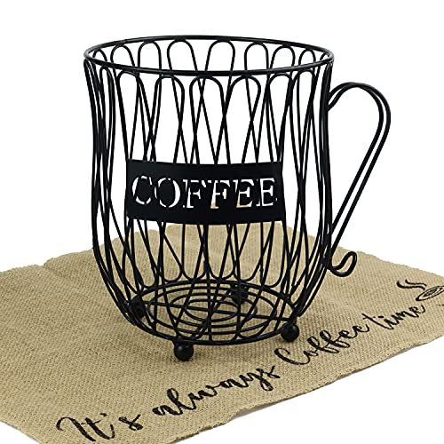 Coffee Pod Holder Capsule Organizer - Coffee Mug Storage Basket Large Capacity Espresso Pod Holder Coffee K Cup Keeper Metal Wire Container with Burlap Placemat for Coffee Counter