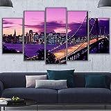wodclockyui 5 Piezas Cuadro de Lienzo - Puente Purple Sunset San Francisco Pintura 5 Impresiones de imágenes Decoración de Pared para el hogar Pinturas y Carteles de Arte HD 200cmx100cm Sin Marco
