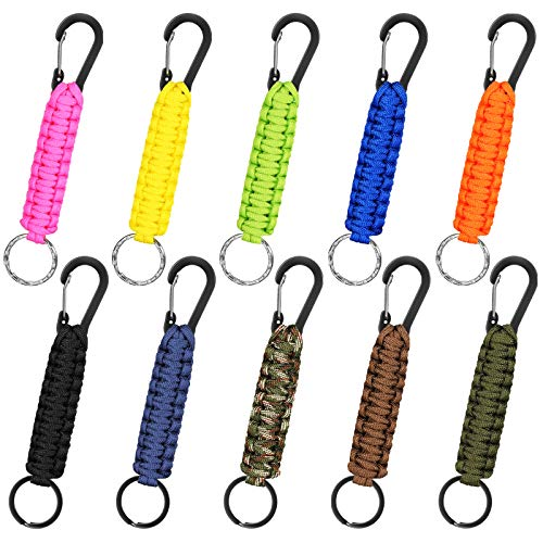 10 Pieces Paracord Keychain Quick Release Keychain Clip Ring Braided Lanyard Utility Ring Hook Outdoor Parachute Lanyard Key Ring Heavy Duty Keychain for Men Women Outdoor Sports