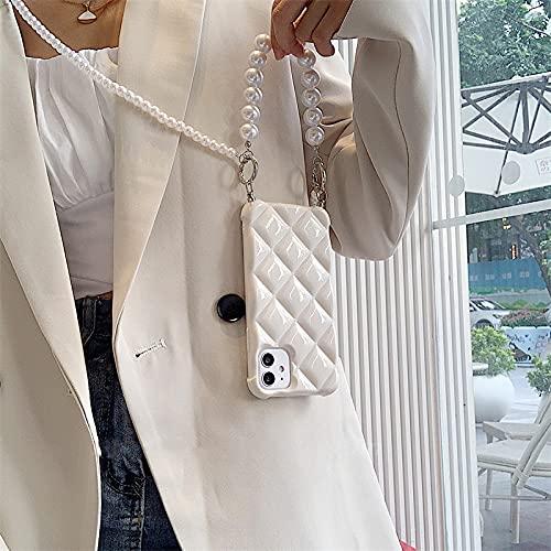 Custodia a catena per telefono con cinturino a cordino con tracolla in perla coreana per iPhone 11 12 Pro Max X XR XS 7 8 plus Cover morbida con diamante di lusso, bianca, per iPhone 11Promax