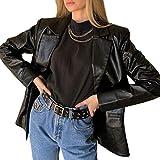 Geagodelia Blazer Donna Giacca Donna Primavera Pelle PU Elegante Casual Maniche Lunghe Giubbotto Cardigan S-L (Nero, M)