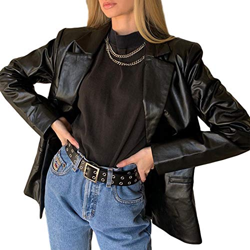 Geagodelia Blazer Damen-Jacke für Frühling aus PU-Leder, elegant, Langarm, Cardigan S-L, Schwarz S