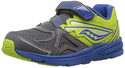Saucony Baby Girl's Ride Running Shoe, Grey/Lime, 10.5 Medium US Little Kid