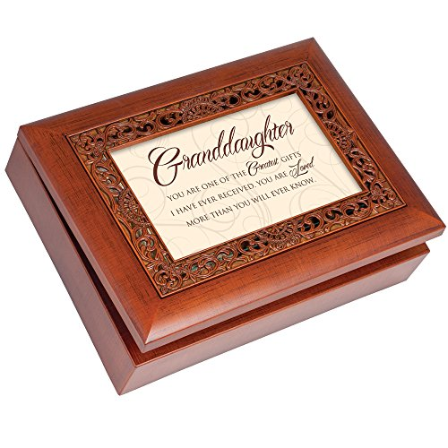 Cottage Garden Granddaughter Greatest Gifts Ever Woodgrain Inlay Jewelry Music Box Plays You Light Up My Life