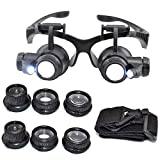 Wallfire 25X Magnifier Magnifying Eye Glass Loupe Jeweler Watch Repair Kit with LED Light with 8 Interchangeable Lens-10x 15x 20x 25x