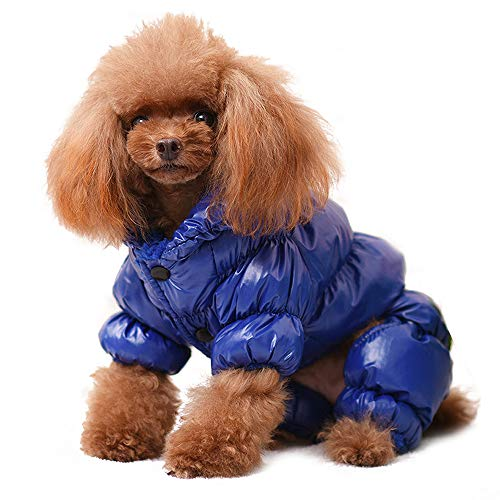 PET ARTIST Winter Puppy Dog Coats for Small Dogs,Cute Warm Fleece Padded Pet Clothes Apparel Clothing for Chihuahua Poodles French Bulldog Pomeranian Blue Chest:18''