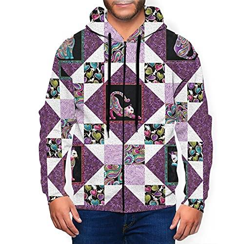 Sudadera con capucha para hombre con cremallera completa con capucha y diseño clásico con capucha, Azulejos mexicanos con diseño de mandala, color negro, XL