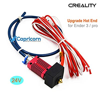 Creality Ender 3 and Pro 3D Printer Assembled Extruder MK8 HotEnd Kit 24V with 0.4mm Nozzle Upgrade with Low Friction Capricorn Tubing