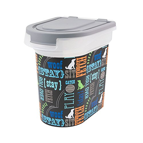 Paw Prints 15 Pound Pet Airtight Food Storage Container, Wordplay Design, Includes Snap-in 1 Cup...