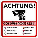 2 Stück Achtung Videoüberwachung Premium Aufkleber – Schild – Sticker |Hinweisschild – Warnschild für mit Kamera videoüberwachtes Objekt – Haus – Gelände | Kratz- wetterfest...