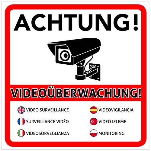 2 Stück Achtung Videoüberwachung Premium Aufkleber – Schild – Sticker |Hinweisschild – Warnschild für mit Kamera videoüberwachtes Objekt – Haus – Gelände | Kratz- wetterfest 10 x 10 cm
