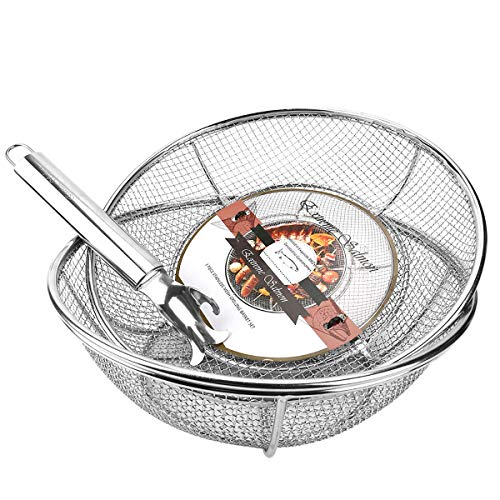 Grill Basket, Grill Accessories Set Heavy Duty Barbecue Grilling Basket Vegetables Stainless Steel Veggies Grill Topper Cookware with Handles Charcoal Gas Outdoor Grill Cooking