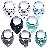 8 Stück Baby Dreieckstuch,DIAOCARE Halstücher Lätzchen baby mit 2 Verstellbares Druckknopf,100% Bio-Baumwolle,Weiche & Absorbierende (junge)