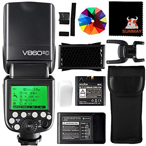 GODOX V860II-C Speedlite 2,4G HSS 1/8000S GN60 2000mAh Li-ion Akku TTL Kamera Blitz Blitzgerät für Canon EOS Kameras 6D 7D 50D 60D 1DX 580EX II 5D Mark II III (V860II-C)