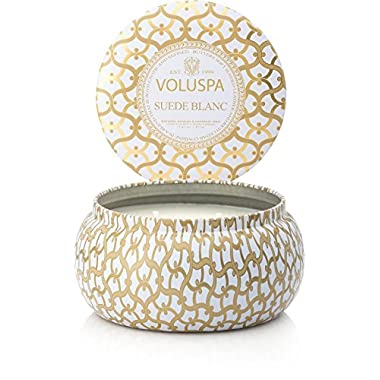 Voluspa Maison Blanc Suede Blanc 2 Wick Candle
