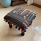 Stoool Ottoman Galería Indian Pouff Reposapiés étnico Bordado puf Cubierta, Indio algodón Redondo puf otomano puf Cubierta Almohada decoración étnica Arte Raya a