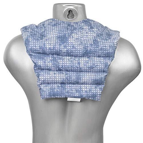 Saco térmico de semillas - Cojín para el cuello con parte dorsale - Cojín cervical caliente para la espalda - Almohada térmica - Semillas de lino (color: used look gris azulado)