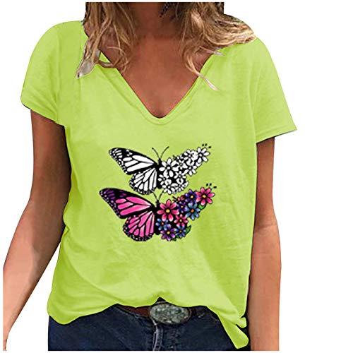 Yowablo T-Shirt Frauen Casual Fashion Loose V-Ausschnitt Bedruckte kurzärmelige Tops ( M,5Gelb )