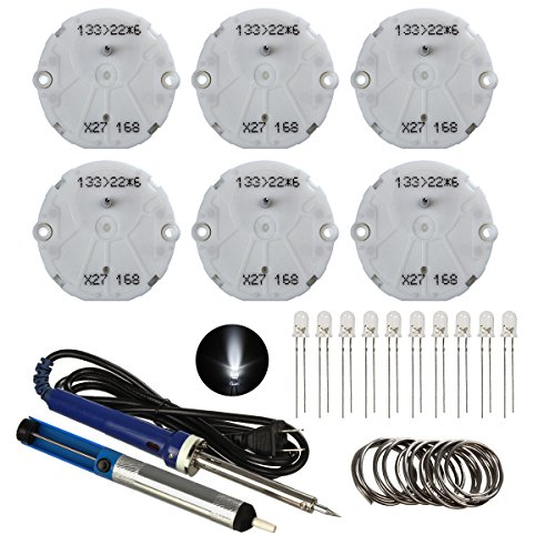 Partsam 6pcs Stepper Motor X27 168 Instrument Cluster Gauge Repair Kit + 10pcs White 5mm LED Bulb