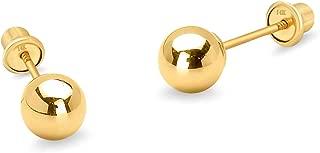 14k Yellow Gold 4mm Plain Hollow Gold Ball Children Screw Back Baby Girls Earrings