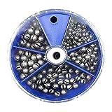 Apofly Pesca Accesorios De Pesca Pesos Conjunto Pesca De Split Shot Pesos Plomos Kit con 5 División Caja Extraíble para La Pesca Azul 205pcs Pesca Regalo para Los Hombres