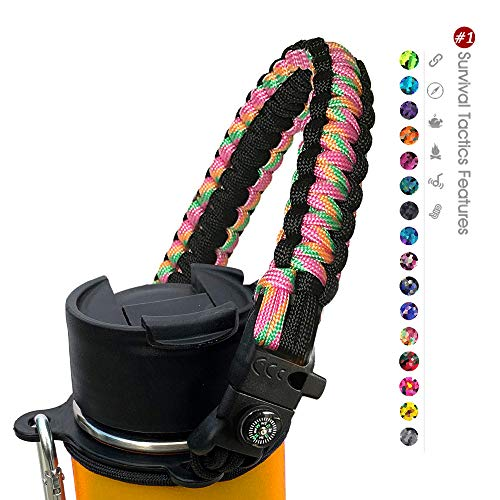 ALIENSX #1 Paracord Handle for Hydro Flask Water Bottle - Durable Carrier Survival Strap Cord with Safety Ring and Carabiner - Fits Wide Mouth Bottles 12 oz to 64 oz (Yellow/Orange)