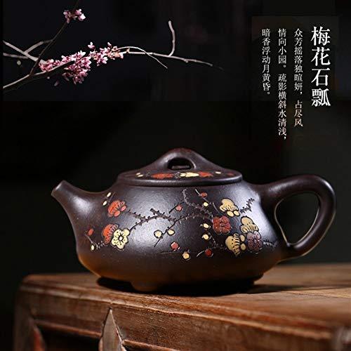 GuoQiang Zhou - Tetera de mineral puro pintado a mano barro negro, tetera, cuchara, piedra ciruela jinsha (color: morado)