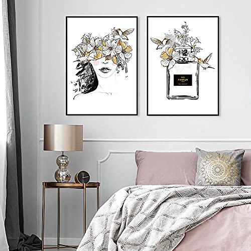 ZLARGEW Póster e impresión de Moda de París Flores Negras Doradas Mujer Perfume Arte de la Pared Lienzo Pintura nórdica Imagen de decoración del hogar Moderna / 30x40cmx2 Sin Marco