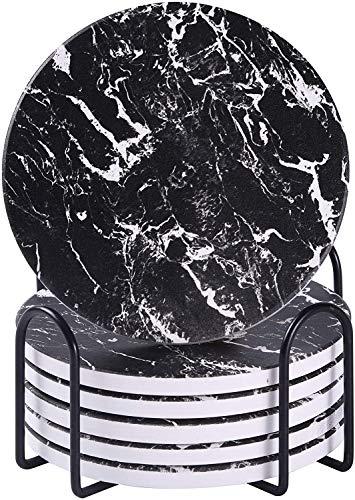 Untersetzer für Getränke, saugfähige Untersetzer mit Halter, Schwarz Keramik-Untersetzer im Marmor-Stil mit Kork-Basis, verwendet für Bars, Couchtisch-Deko, Haus oder Wohnzimmer-Deko (6er-Set)