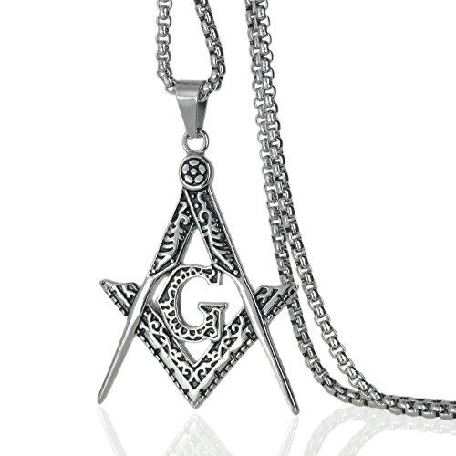 Ahappy-Gold Filled Sculpture Freemasonry Masonic Mason Pendant Chain Necklace 19.68' 23.6' 27.55' 31.5' N282 (31.5)