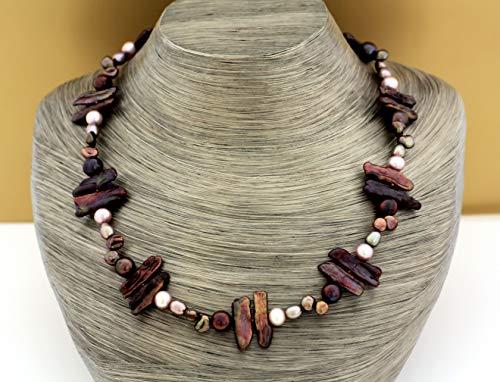 Echte Perlenkette rosa braun Silber 925 Länge 45 cm Halskette Süßwasserperlen Zucht-Perlen