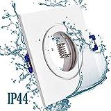 6x Einbaustrahler Bad IP44 mit GU10 Fassung ECKIG weiß Einbauspot Einbauleuchte Rahmen Rostfrei Deckenspot Strahler Spot