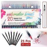 Queiting 20 Colors Watercolour Flexible Brush Pens Set Soft Tip Art Marker