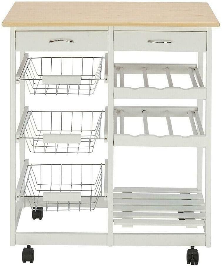 Rolling We OFFer at cheap prices Wood Kitchen Island Trolley Dining Storage Drawers favorite Cart