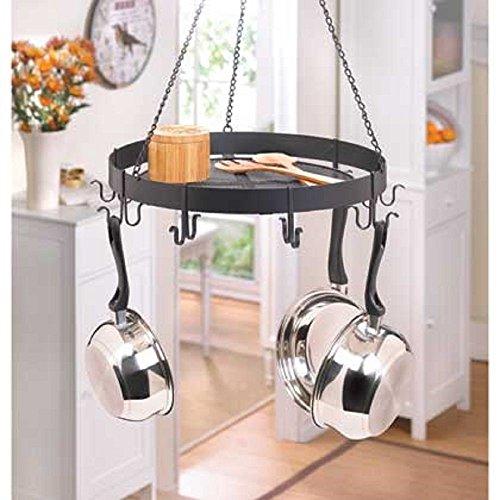 Smart Living Company Black Iron Circular Hanging Pot Holder Kitchen Rack Storage on Top New