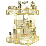 360 Degree Rotation Makeup Organizer Antique Countertop Cosmetic Storage Box Mirror Glass Beauty Display, Gold...