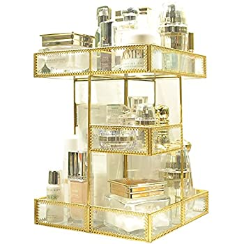 360 Degree Rotation Makeup Organizer Antique Countertop Cosmetic Storage Box Mirror Glass Beauty Display Gold Spin Large Capacity Holder for Brushes Lipsticks Skincare Toner
