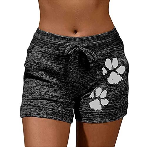 N\P Verano de secado rápido con cordón de impresión de pata pantalones cortos con cordones de cintura alta