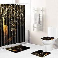 浴室のためのフックを防水カーテン以外のスリップマット、トイレのふたカバーやバスマット、シャワー付きの4ピースクリスマスのシャワーカーテンセット Gold 2-Medium