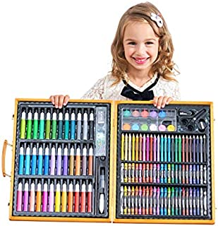 150 Pieces Kids Deluxe Artist Drawing & Painting Set, Portable Wooden Case with Oil Pastels, Crayons, Colored Pencils, Mar...