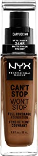 NYX PROFESSIONAL MAKEUP Can't Stop Won't Stop Full Coverage Foundation - Cappuccino, Medium Deep With Warm Undertone