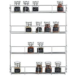 Kitchen organization products including wall mounted spice rack.