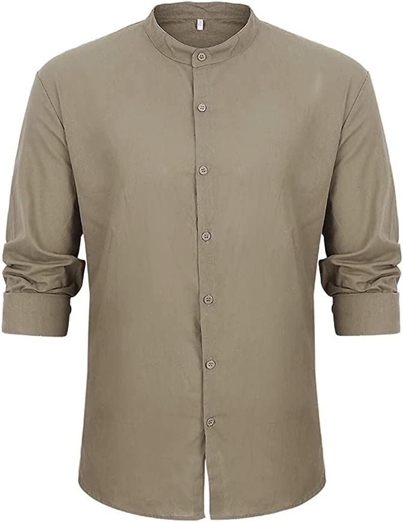 AMTF 2021 Men's Regular-Fit Long-Sleeve Linen Cotton Shirt Solid Color Lightweight Breathble Shirts Tops Button Blouse