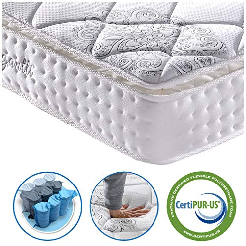 Vesgantti 10.6 Inch Pocket Sprung Mattress with Breathable Foam and Individually Wrapped Spring - Medium, Pillow Top Collection