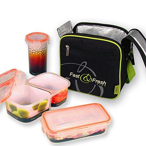 FranquiHOgar Set porta alimentos - Lunchbox + 3 tuppers 100% herméticos