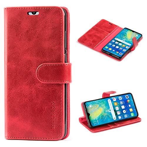 Mulbess Handyhülle für Huawei P30 Hülle, Leder Flip Case Schutzhülle für Huawei P30 Tasche, Wein Rot