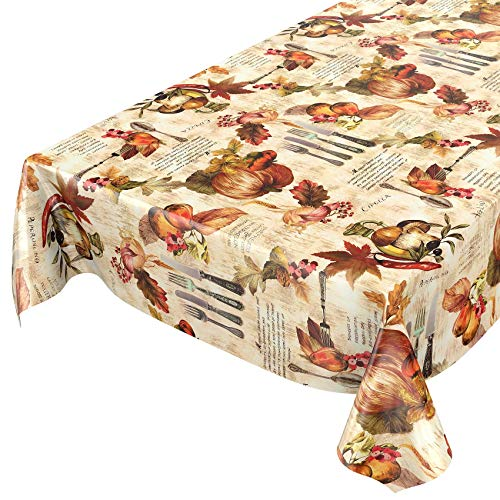 ANRO tafelkleed wastafelkleed wasdoek tafelkleed bestek uien olijfolie pompoen herfst 220 x 140 cm, snijkant