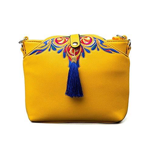 MUBAY Crossbody Bags Shoulder Bag for Women Women's bag,PU leather soft leather portable embroidery tassel retro national wind female Messenger bag travel bag