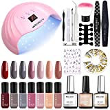 Gel Nail Polish Kit with U V Light 48W Nail Dryer Modelones 7 Nude Colors Gel Nail Polish Set, No Wipe Base Top Coat, Nail Primer, Nail Art Decorations, Manicure Tools, Integrated Manicure Kit